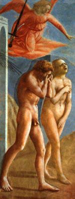 Eva och Adam fördrivs från paradiset. Saga ur Bibeln.