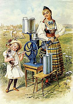 Separator: I ena röret kommer grädde som man kan göra smör av.