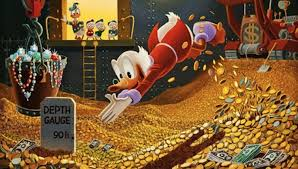Om man då utgick från att bingen, med måtten 37m*37m*39m, var halvfull som den ser ut att vara, så skulle guldet där i vara värt 5.4 triljoner dollar.