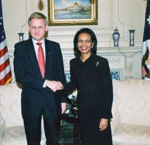 Carl Bildt och Condolezza Rice.